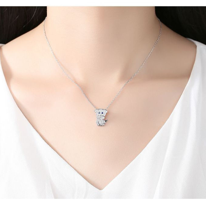 blue eyes qiqi lovely lovely necklace AAA zircon inlaid fashion girl money manufacturers direct gifts jewelry gifts jewelry