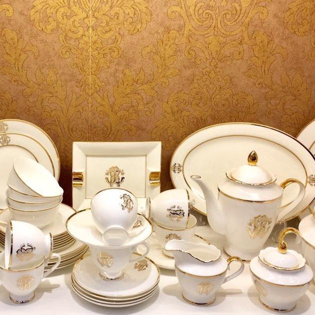 Wholesale Fine Bone China Dinnerware Sets Ceramic Dinner Sets Of 61PCS luxurious design for home