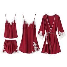 Four Piece Sexy Nighty Silk Sleepwear Set Lace Pijamas de Satin mujer