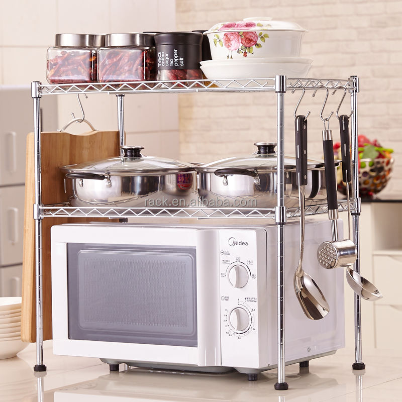 Multi-functional Adjustable Kitchen Chrome Plated Wire Shelf for Microwave