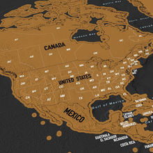 Personalize scratch out world map with US States Outlined