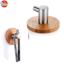 Stainless steel bamboo base adhesive towel hook for bathroom