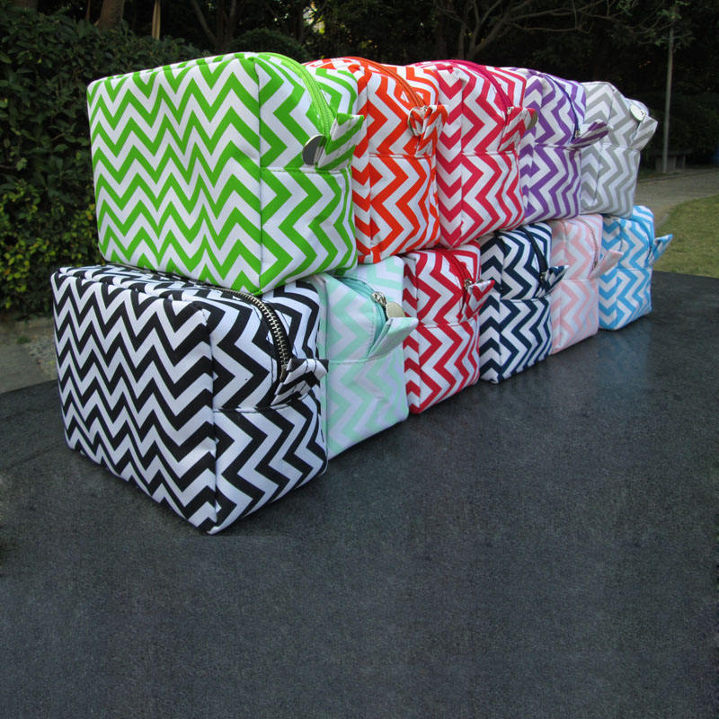 Wholesale Blanks Chevron Cosmetic Bag 14 Color Cheap Toiletry Bag Free Shipping Microfiber Chevron Makeup Bag