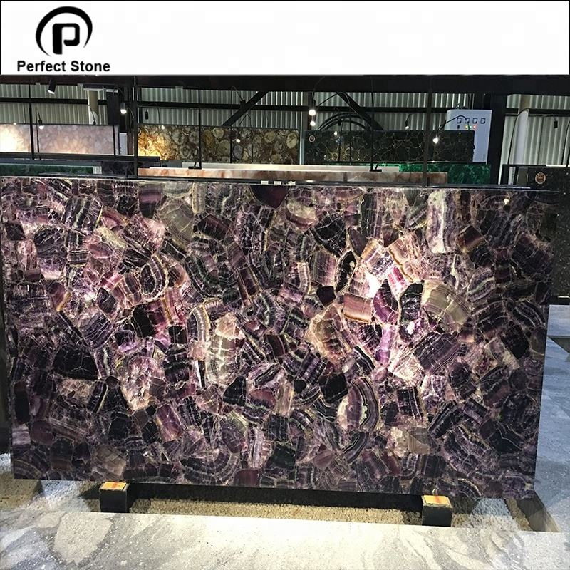 Natural amethyst stone slab with luxury style for home decoration tv background design purple translucent agate countertop
