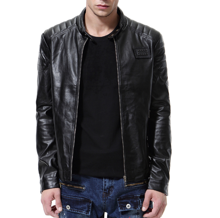Fashion Leather Men Casual Jaket Solid Color Zip Up Leather Jacket