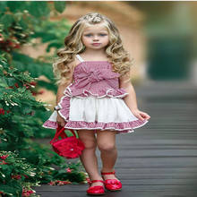 Latest Design Lovely Big bow plaid strap tops + skirt 2pcs kid Girls Clothes Fashion New Style Child Clothes