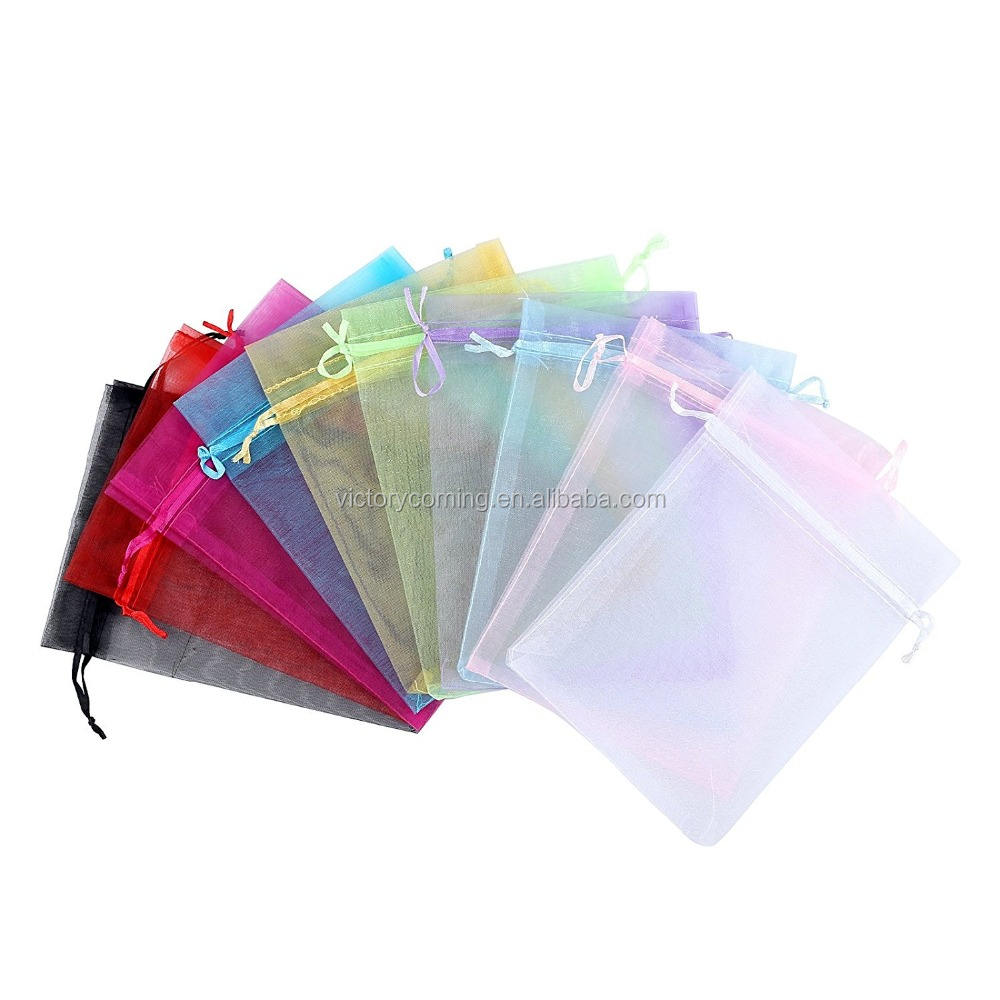 Mix Kleur Party Favor Tassen <span class=keywords><strong>Organza</strong></span> 5X7 Inch 100Pcs Grote <span class=keywords><strong>Organza</strong></span> Koord Tassen Voor Wedding Baby Shower gunsten Mesh Gift Bag