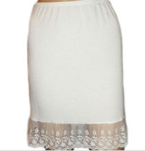 Ladies white half slip with lace bottom skirt