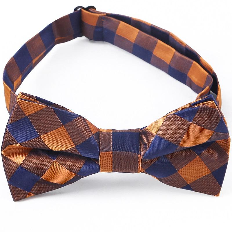 Classic Checker Children Student Bowtie 1200 Needles Polyester Bowties Baby Kids Orange Plaid Butterfly Bow Tie