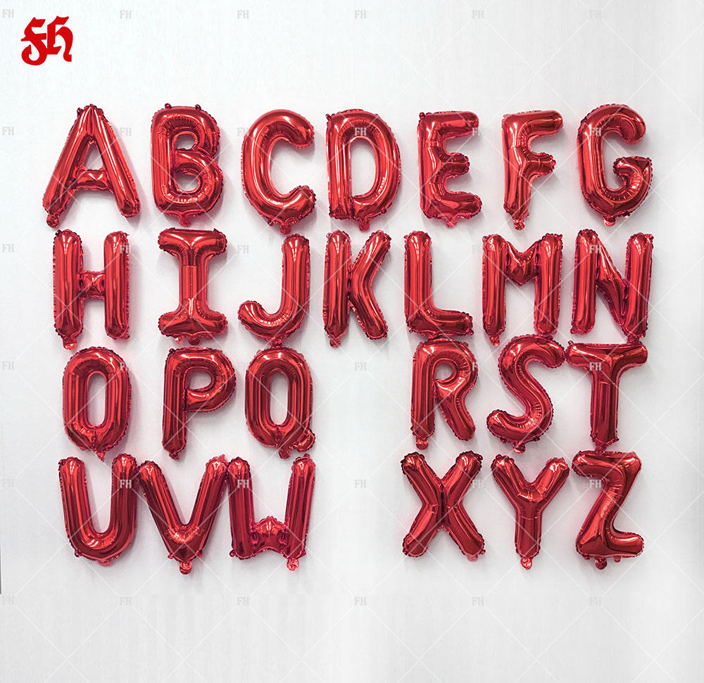 Wholesale 16 inch latest red letter alphabet foil balloons for party decoration