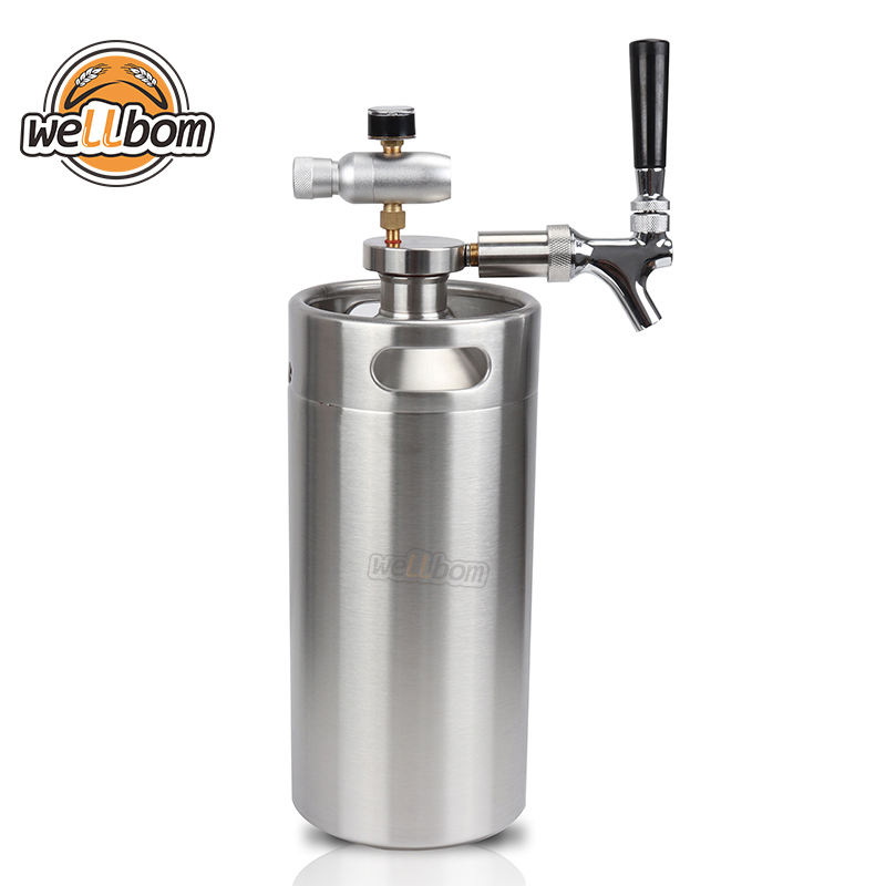 Homebrew Beer Mini Keg Growler Stainless Steel Draft Beer Barrel 3.6L Mini Keg with Tap Dispenser System