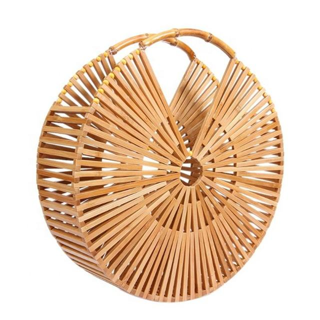 Factory Wholesale Price Ins Popular Handmade Bamboo Bag Purse Women Fashion Bamboo Tote Bag Ladies Rattan Beach Clutch Handbag