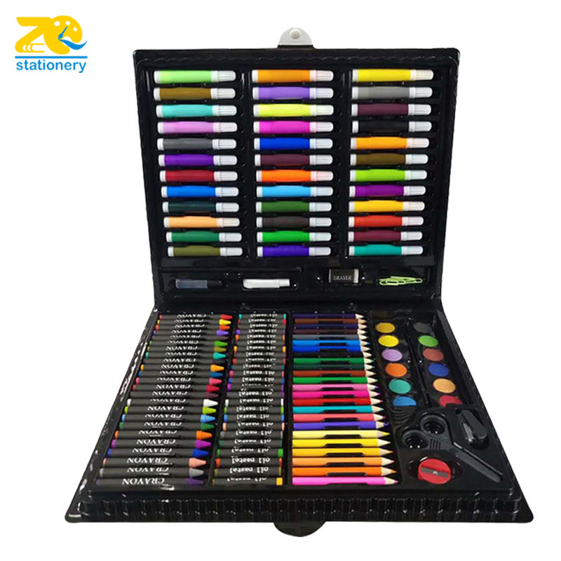 2019 hot 150 pieces coloring kids crayon pastel color pencil drawing art stationery kit for school gifts