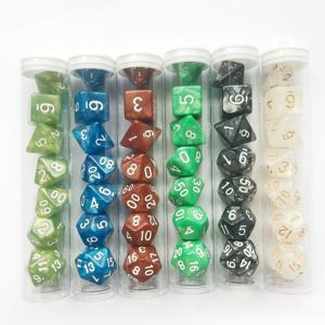 7 pcs/set Desk Polyhedral Custom Dices 4/6/8/10/12/20 Pear Dice DND Acrylic Plastic in Tube Packaging Multi Sides Gaming