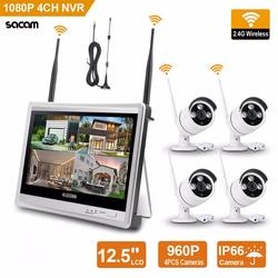 "Wireless Home Camera Video Surveillance System 4CH NVR Kit 1080P Security System CCTV 12.5"" Monitor 4pcs Outdoor WiFi IP Cam"
