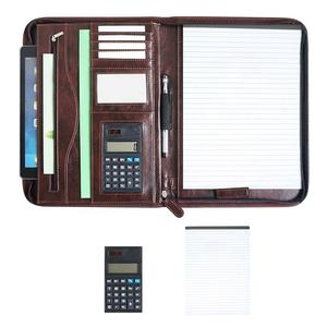 a4 leather car document manager folder holder zipper pu portfolio with calculator