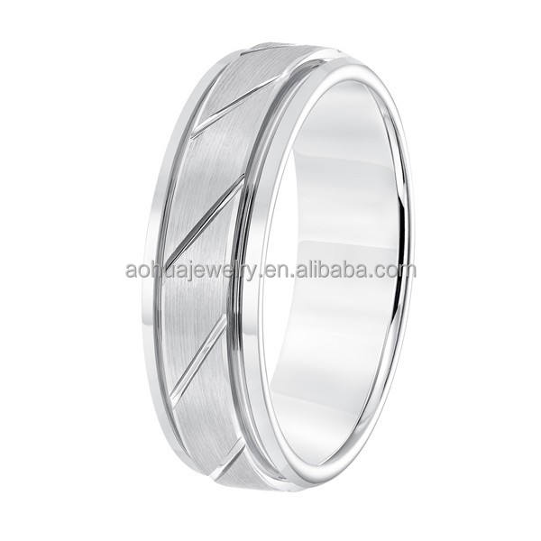 Mode mannen ring zilveren geborsteld 12 stks diagonaal groove wedding tungsten ring