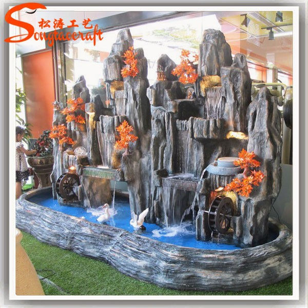 Most durable nearly natural large resin garden fountain design fiberglass fake rock waterfall