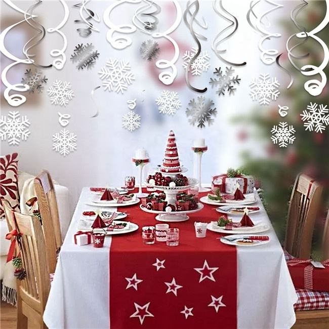Xl016 Christmas Items Wholesale Party Decoration Products Snowflake Pvc Hanging Oem Party Swirls