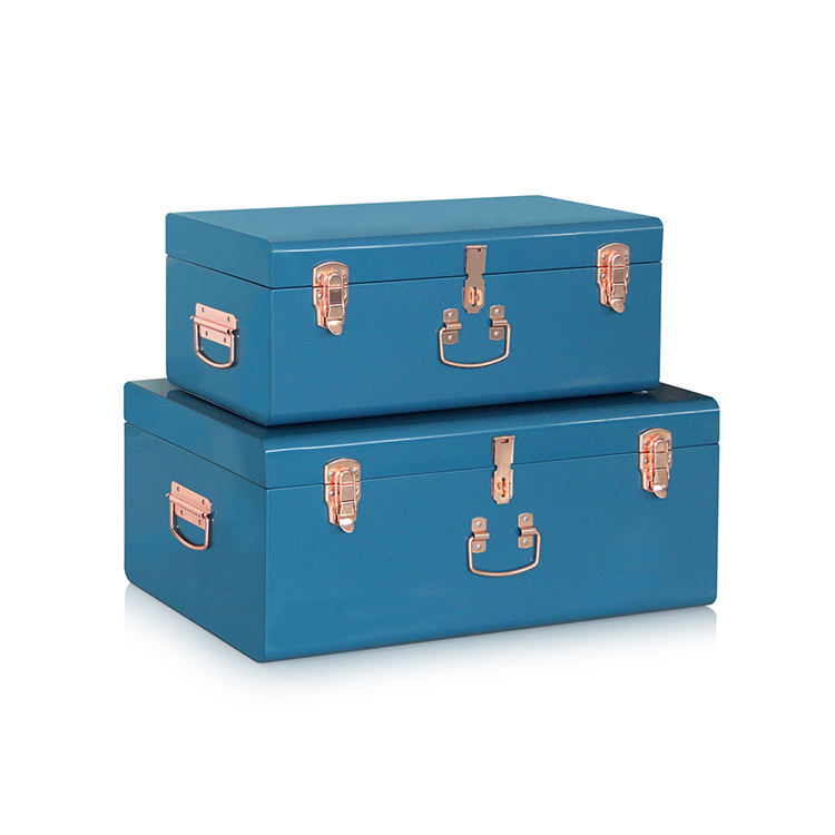Metal Trunk Big Storage Locked Boxes With Rose Gold Accessories