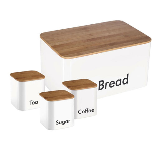 White Vintage Set of 4 Metal Kitchen Storage Tin Canister Bread box/container/Bin/Home Kitchen Gifts With Bamboo Lid