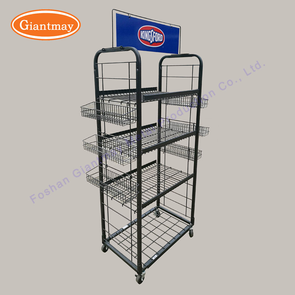 Retail supermarket metal wire mesh potato chips snack food storage baskets holder display stand for hanging snacks