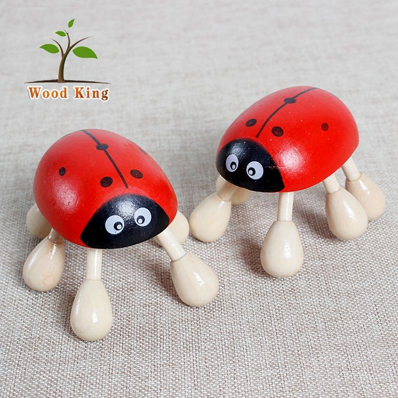 Wooden Six-Foot Beetle Seven Star Ladybug Scalp Massage Kit Fit Head Massager Machine