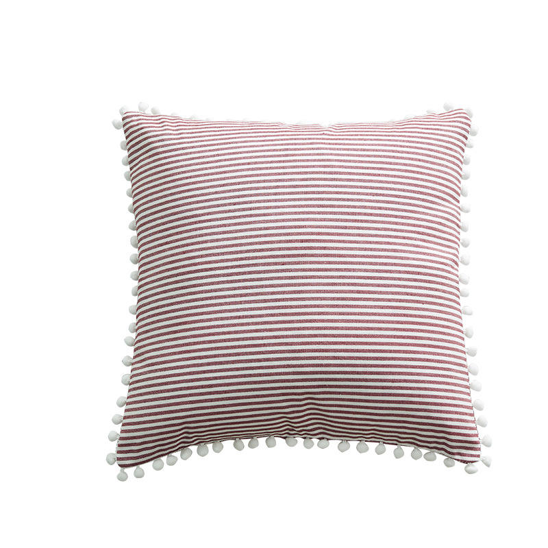 2019 stripe print stock lot home sofa chair waist pom pom decorative throw pillow cushion cover set