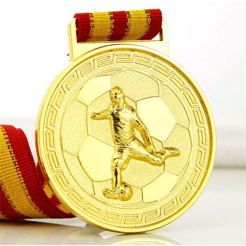 Custom football award medal with medal hanger