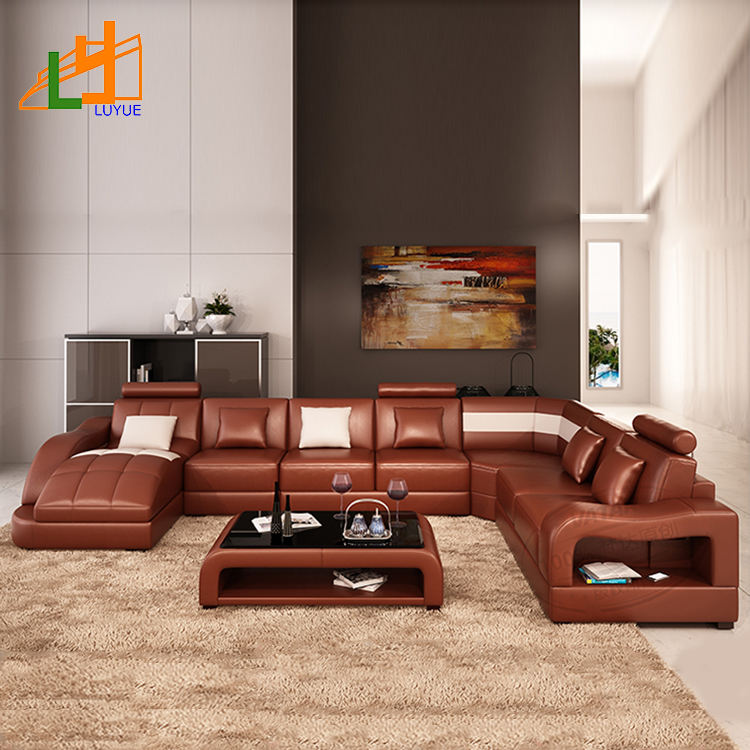 European style living room furniture 7 seater couch living room modern leather sofa