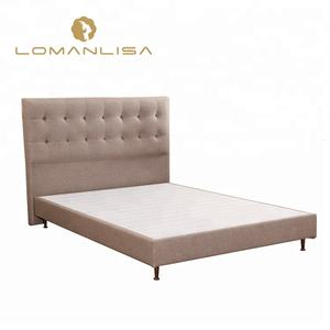 Factory wholesale hotel bed base modern adjustable fabric wooden double bed frame