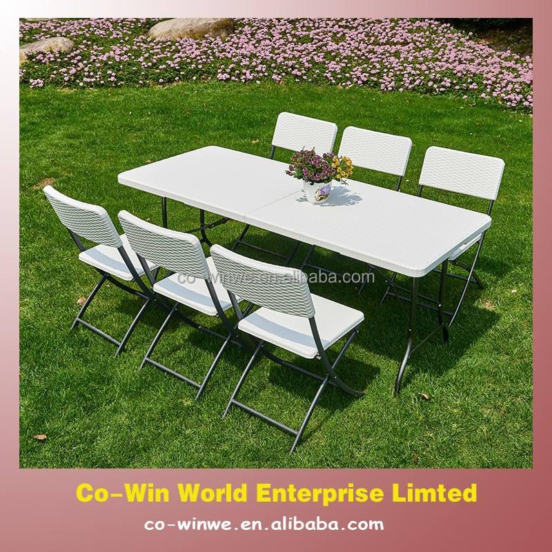 7pk schwarz oder weiß <span class=keywords><strong>rattan</strong></span> Terrasse im freien tragbare falten tisch und klappstuhl garten