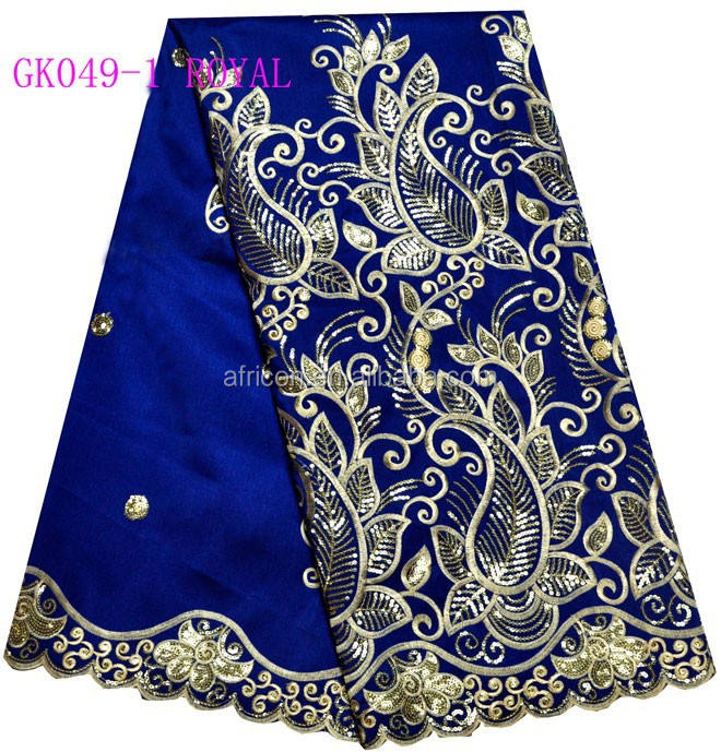 Gk049-1 royal 2015 india raw silk george lace george fabric