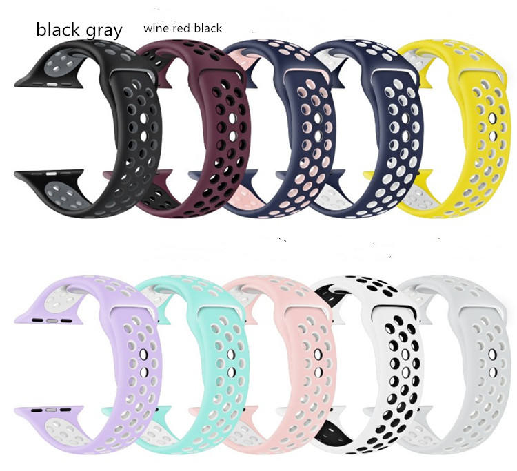 2021 Silicone Rubber Sport Watch Band Strap Replacement Smart Watch Bands For Apple Watch Bands