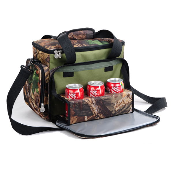 Custom logo Camouflage 6 pack cooler with bottle holder and cell phone pouch