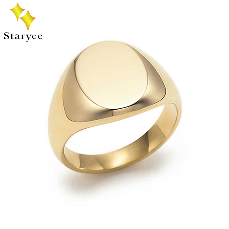 Class Platinum 9K 10K 14K 18K Solid Gold 925 Sterling Silver Plain Blank Round Oval Personalized Custom Signet Ring Men Women