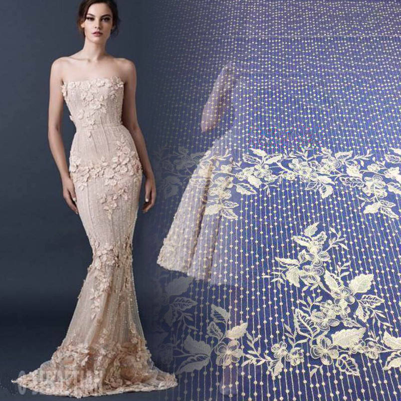 MX008 Fashion wedding net lace fabric 3d flowers embroidery for wedding party dress