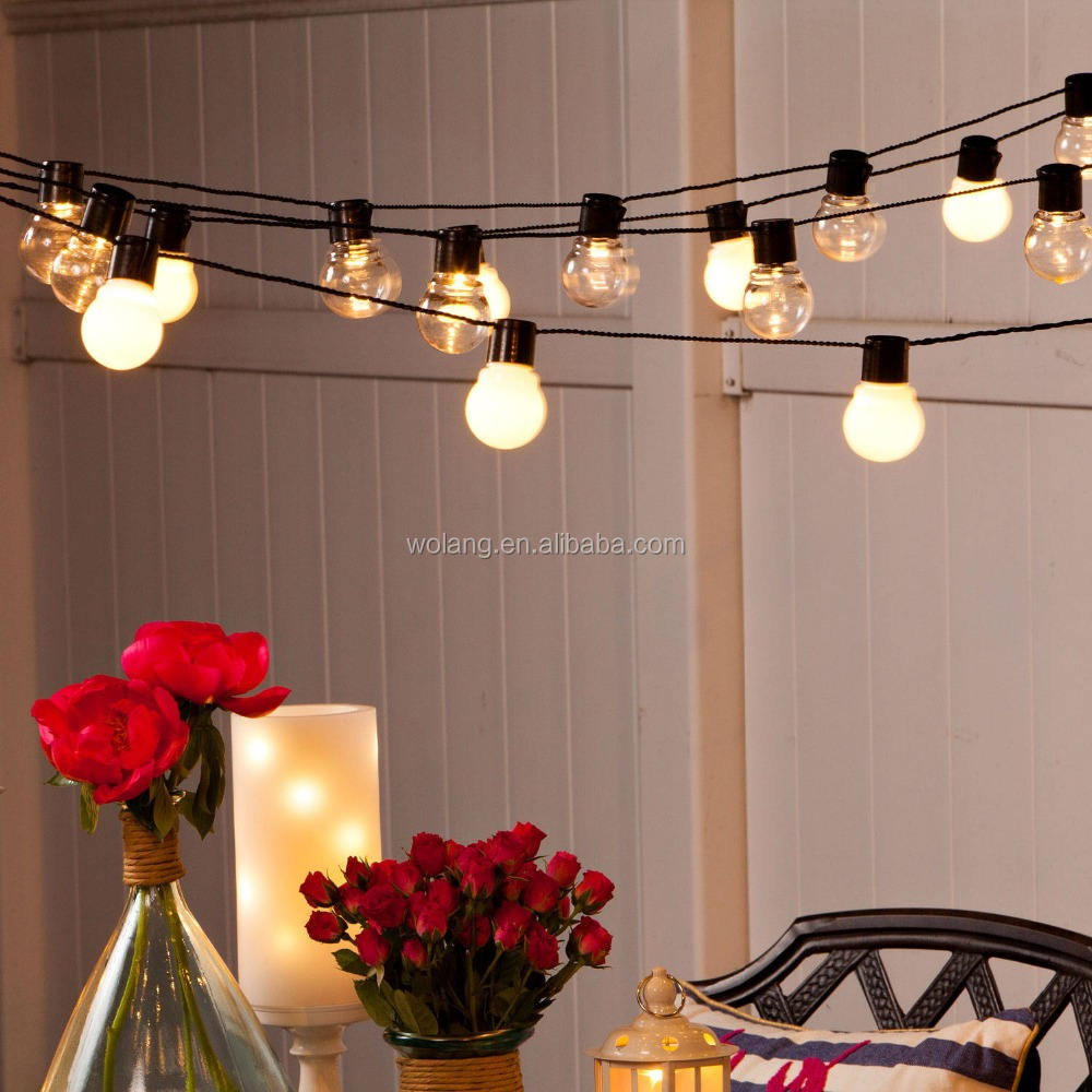 Solar outdoor clear global bulb string lights , solar panel with clips bulb with clip lighting decoration