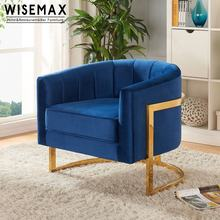 Luxury Gold Stainless Steel Frame Modern Hotel Leisure Living Room Soft Blue Velvet fabric Lounge Accent Chair