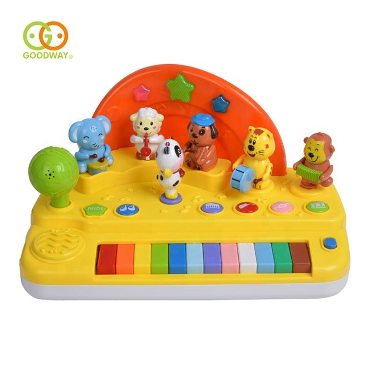 Funny Animal Design Plastic Baby Musical Toy Piano With Light