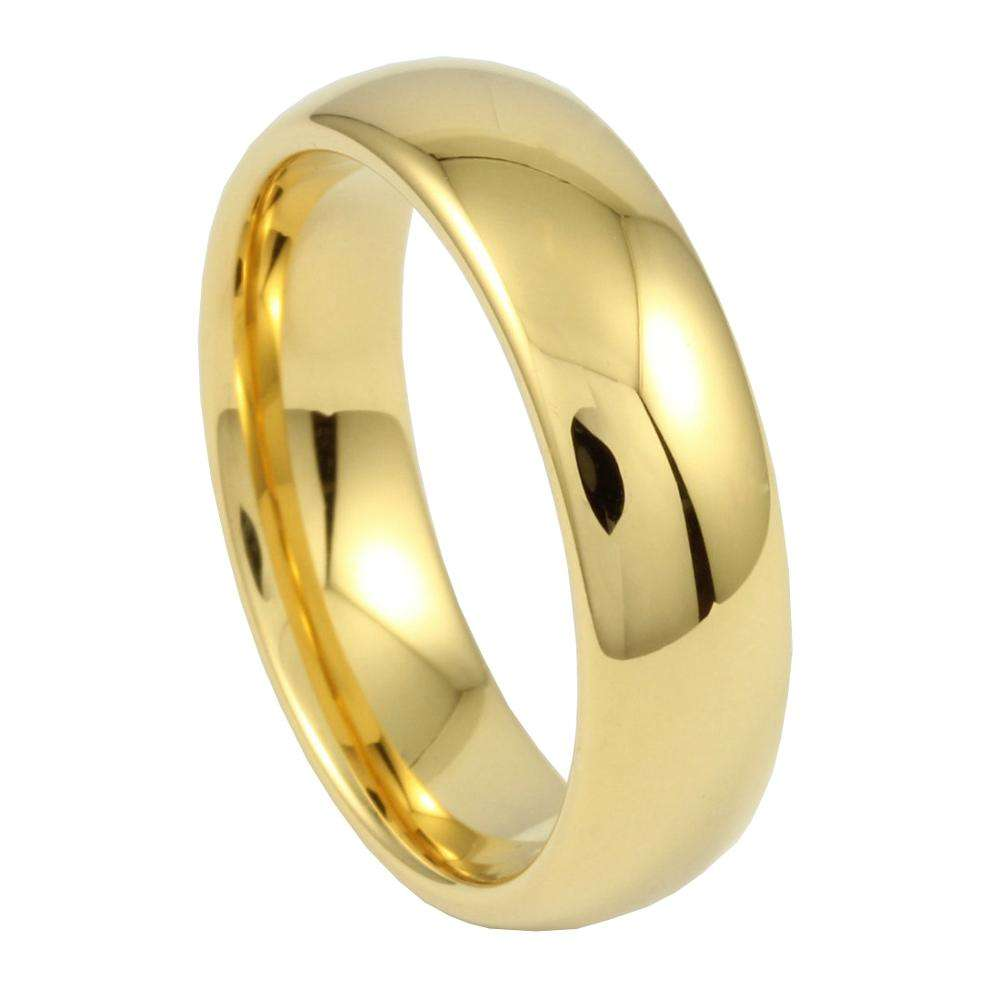 Chengjewelers Tungsten Carbide IP Plated 18K Wedding Ring Gold With High Polished