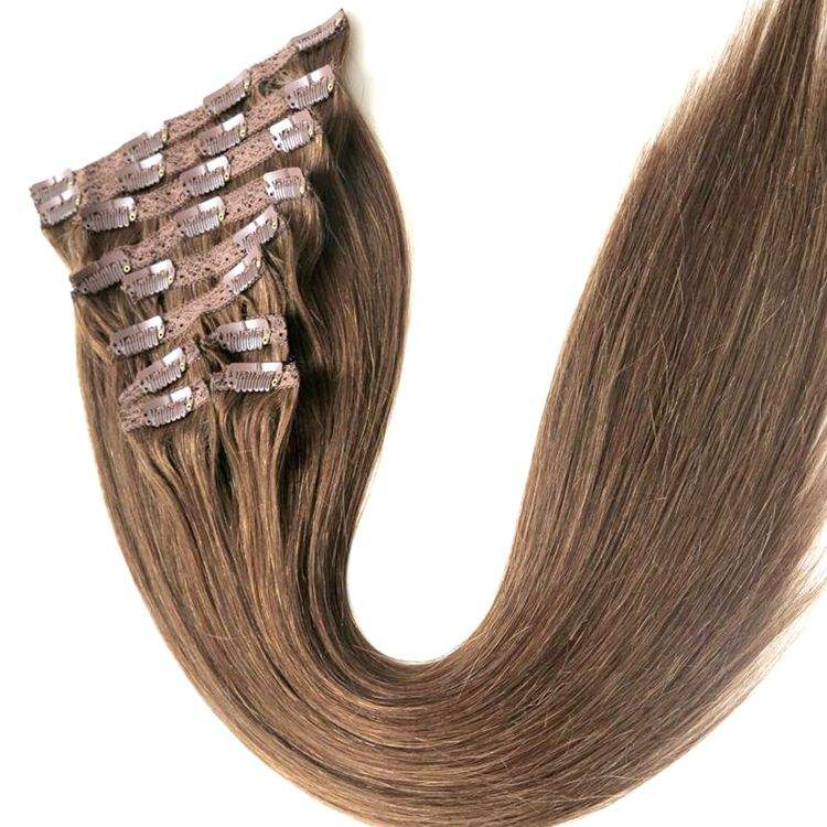 Wholesale 22Inch 120G Clip In 100% Human Hair Extensions Virgin Brazilian Human Hair