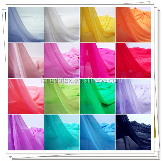 Light high quality 100% polyester fake silk fabirc for making wedding dress