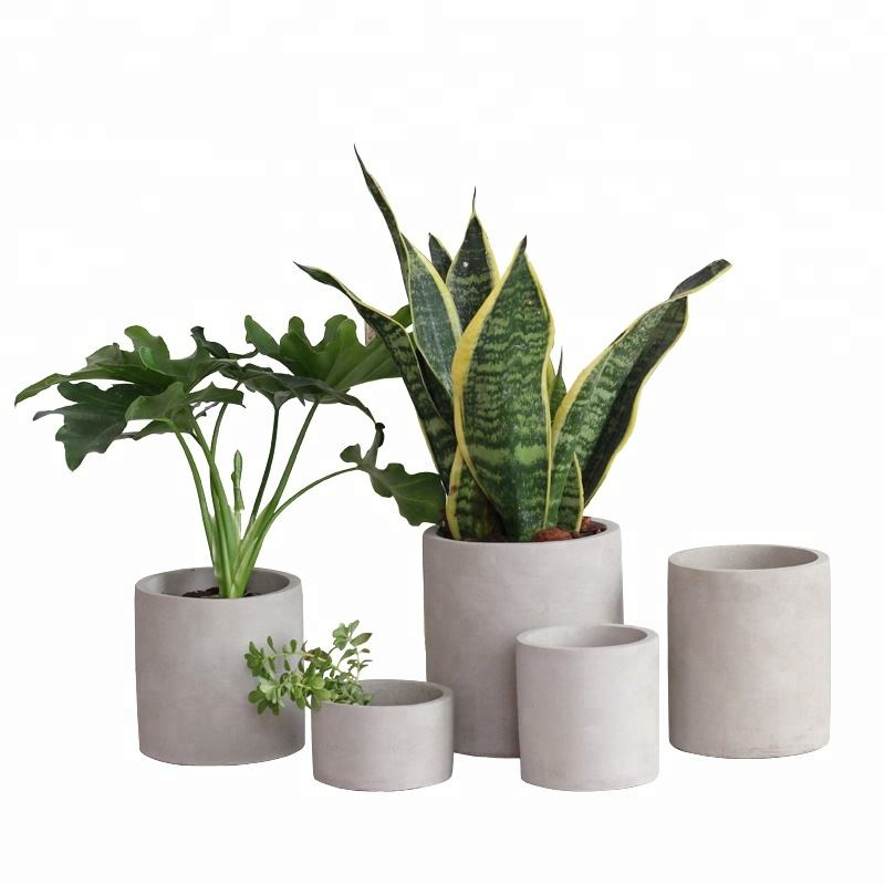 Round cylinder simple nordic cement flower pot for flower home deco