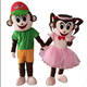 HI CE New design Mele and Female Monkey mascot costume for adult