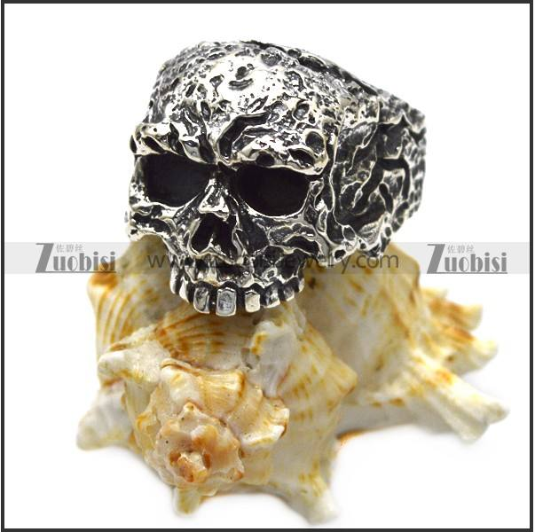 Stylish Rough Ugly 925 Sterling Silver Skull Sing for Bikers