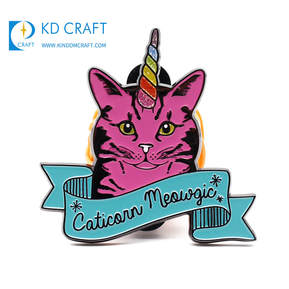 Unique design custom metal stamping colorful enamel glitter cute animal cat badge for promotion