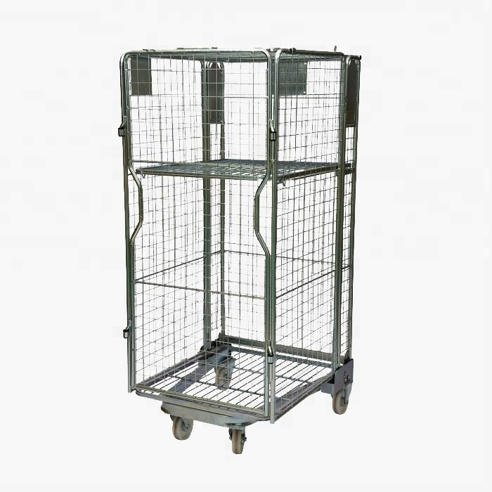 Mild Steel [ Trolley ] Logistic Mesh Trolley Mild Steel Q235 Mesh Wheeling 4 Sided Logistics Transportation Folding Full Security Rollcontainer Roll Cage Trolley