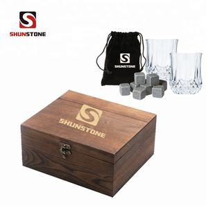 Promotional Gift Box Set Wine Liquor Chillier Rocks Whiskey Stone Ice Cubes