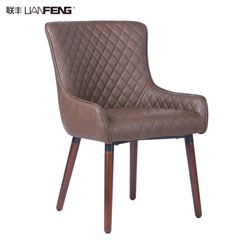 Wholesale modern PU PVC leather cover upholstered dining chair with wooden legs for restaurant and dining room use